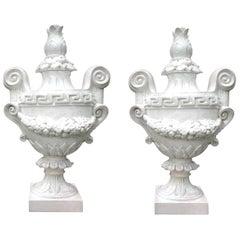 Monumental Pair of Italian Neoclassical Style Glazed Terracotta Urns