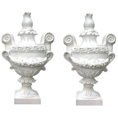 Monumental Pair of Italian Neoclassical Style Glazed Terracotta Urns