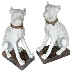 Monumental Pair of Italian Pottery Figures Seated White Great Danes with Collars