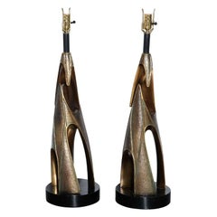 Monumental Pair of Laurel Lamp Co. Paul Evans Style Bronze Resin Table Lamps