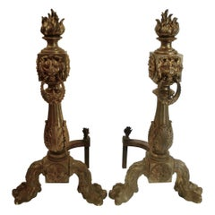 Monumental Pair of Louis XIV Style Bronze Andirons