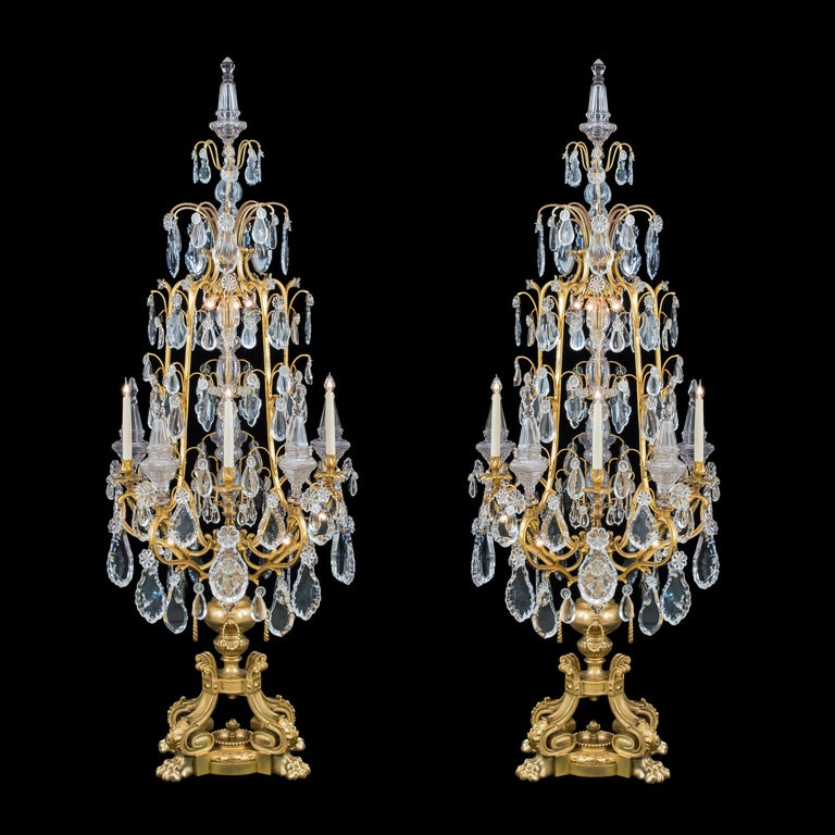 French Monumental Pair of Louis XV Style Ormolu and Crystal Girandoles by Baccarat For Sale