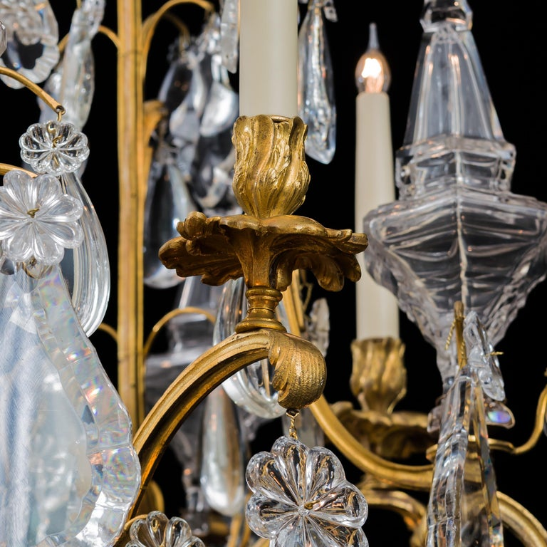 19th Century Monumental Pair of Louis XV Style Ormolu and Crystal Girandoles by Baccarat For Sale