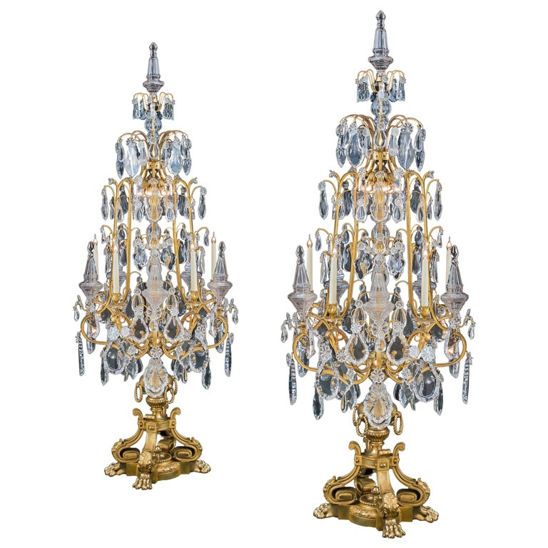 Monumental Pair of Louis XV Style Ormolu and Crystal Girandoles by Baccarat For Sale