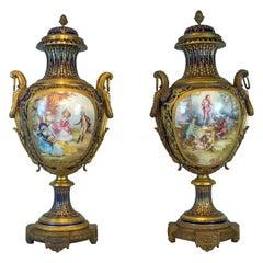 Monumental Pair of Magnificent Ormolu Mounted Sèvres Porcelain Vases
