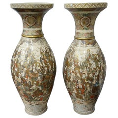 Monumental Pair of Meiji Period Japanese Satsuma Vases