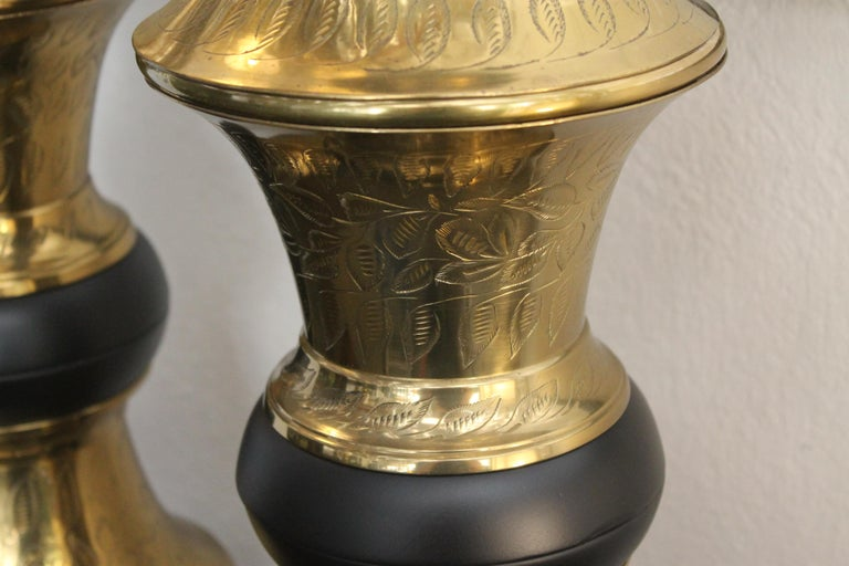 Monumental Pair of Brass Moroccan Style Lamps For Sale 5