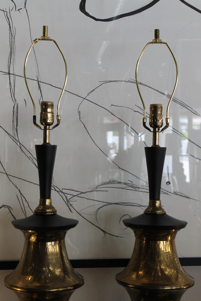 Monumental Pair of Brass Moroccan Style Lamps In Good Condition For Sale In Palm Springs, CA