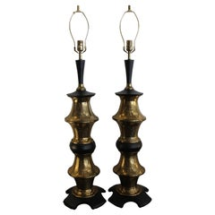 Monumental Pair of Brass Moroccan Style Lamps