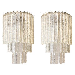 Monumental Pair of Murano Icy Glass Midcentury Sconces