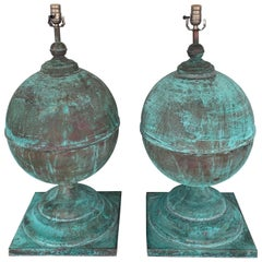 Monumental Pair of Patinated Copper Orbs, Now as Lamps