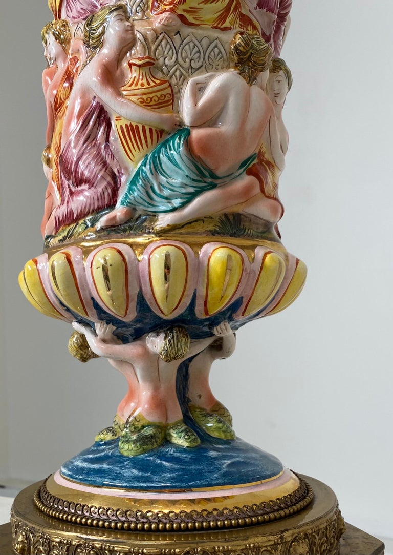 Monumental Pair of Porcelain Capodimonte Table Lamps For Sale 3