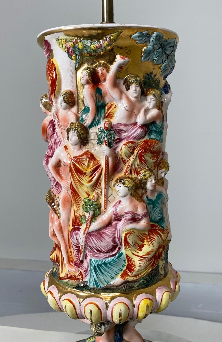 Monumental Pair of Porcelain Capodimonte Table Lamps For Sale 5