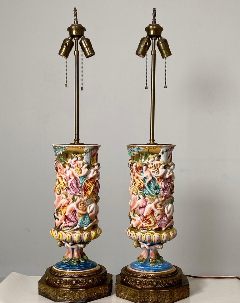 Monumental Pair of Porcelain Capodimonte Table Lamps For Sale 8
