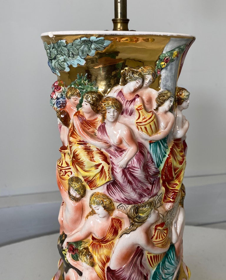 Italian Monumental Pair of Porcelain Capodimonte Table Lamps For Sale