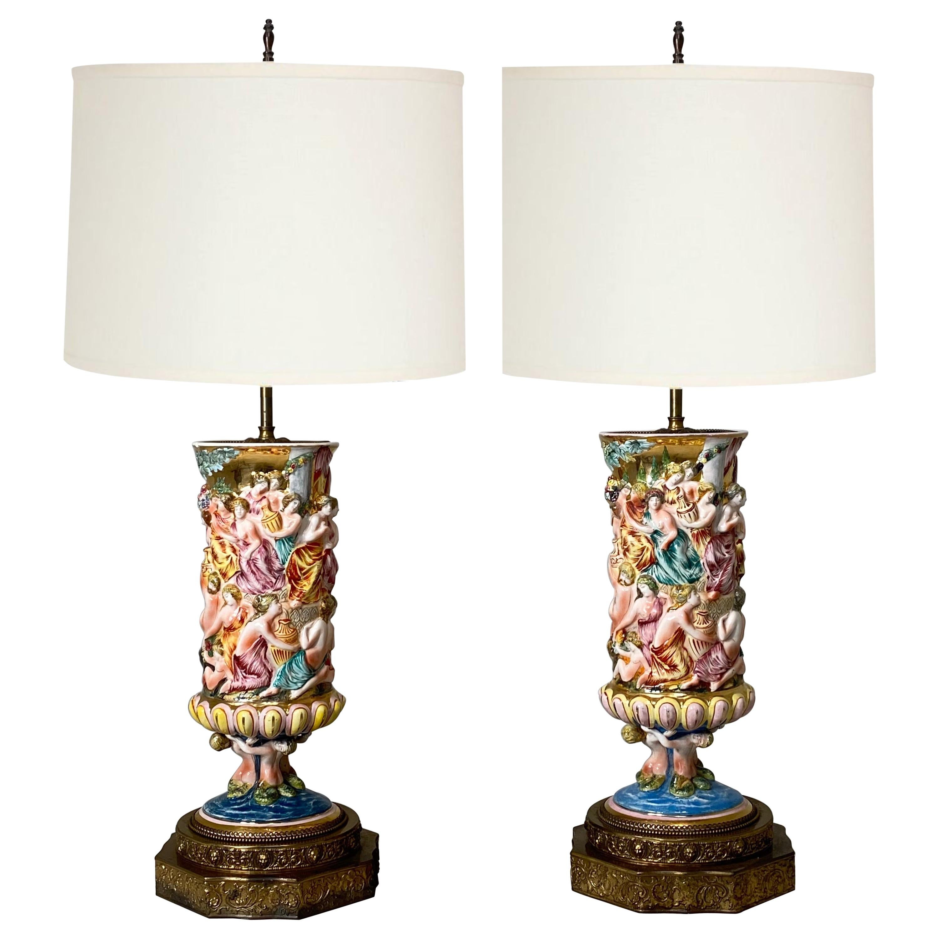Monumental Pair of Porcelain Capodimonte Table Lamps