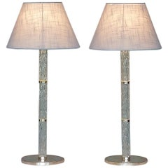 Monumental Pair of Signed Kaiser Table Lamps Crystal Glass Silvered Metal, 1960s
