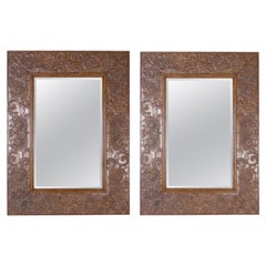 Monumental Pair of Very Large Bronze Wall Mirrors