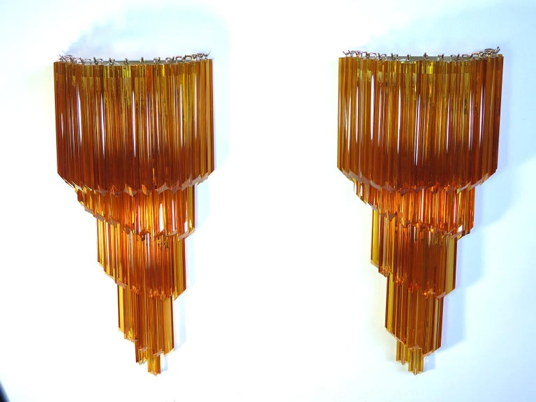 Mid-Century Modern Monumental Pair of Vintage Murano Wall Sconce, 41 Amber Quadriedri For Sale
