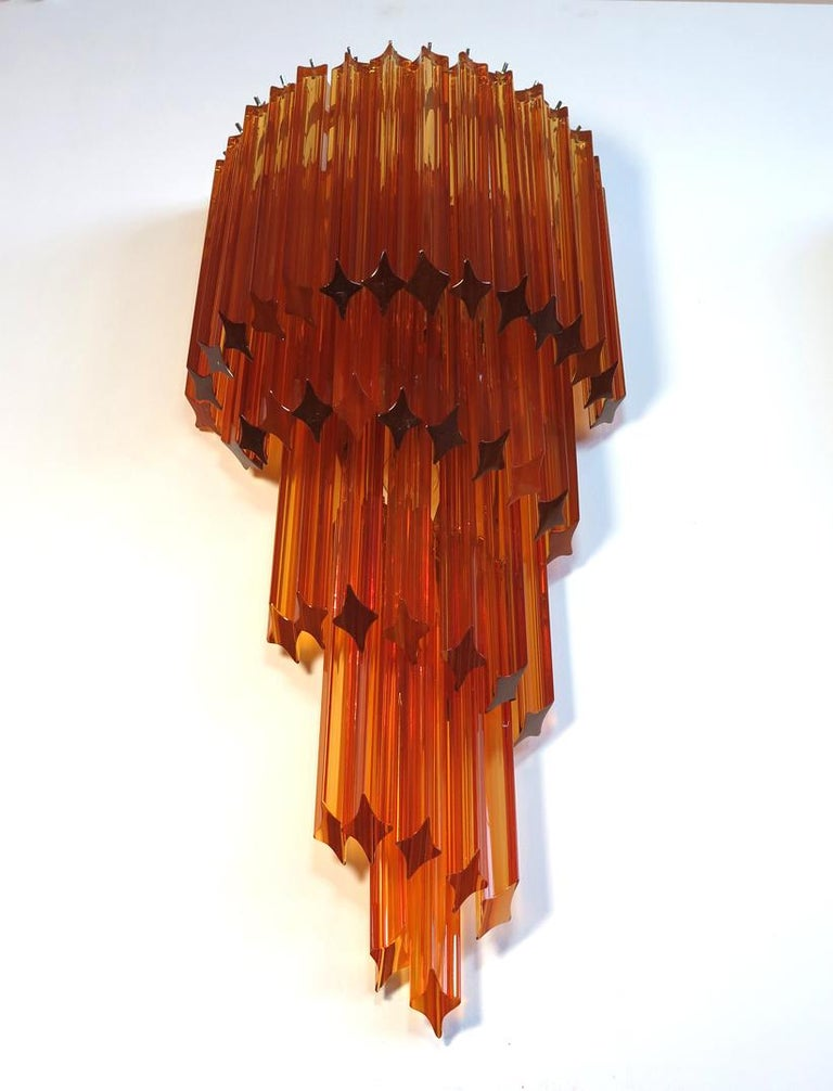 Late 20th Century Monumental Pair of Vintage Murano Wall Sconce, 41 Amber Quadriedri For Sale