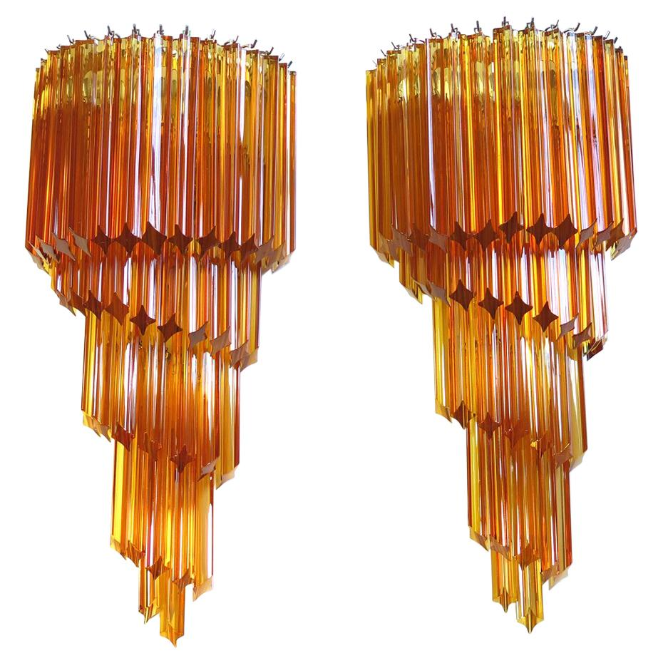 Monumental Pair of Vintage Murano Wall Sconce, 41 Amber Quadriedri