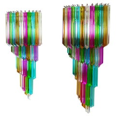 Monumental Pair of Vintage Murano Wall Sconce, 41 Multi-Color Quadriedri, Maria