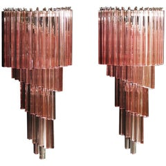 Monumental Pair of Vintage Murano Wall Sconce, 41 Pink Triedri