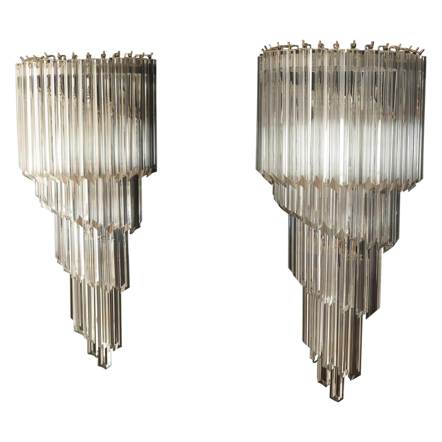 Monumental Pair of Vintage Murano Wall Sconce, 41 Transparent Quadriedri, Elena