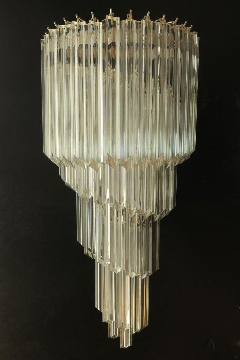Blown Glass Monumental Pair of Vintage Murano Wall Sconce, 41 Transparent Quadriedri, Elena For Sale