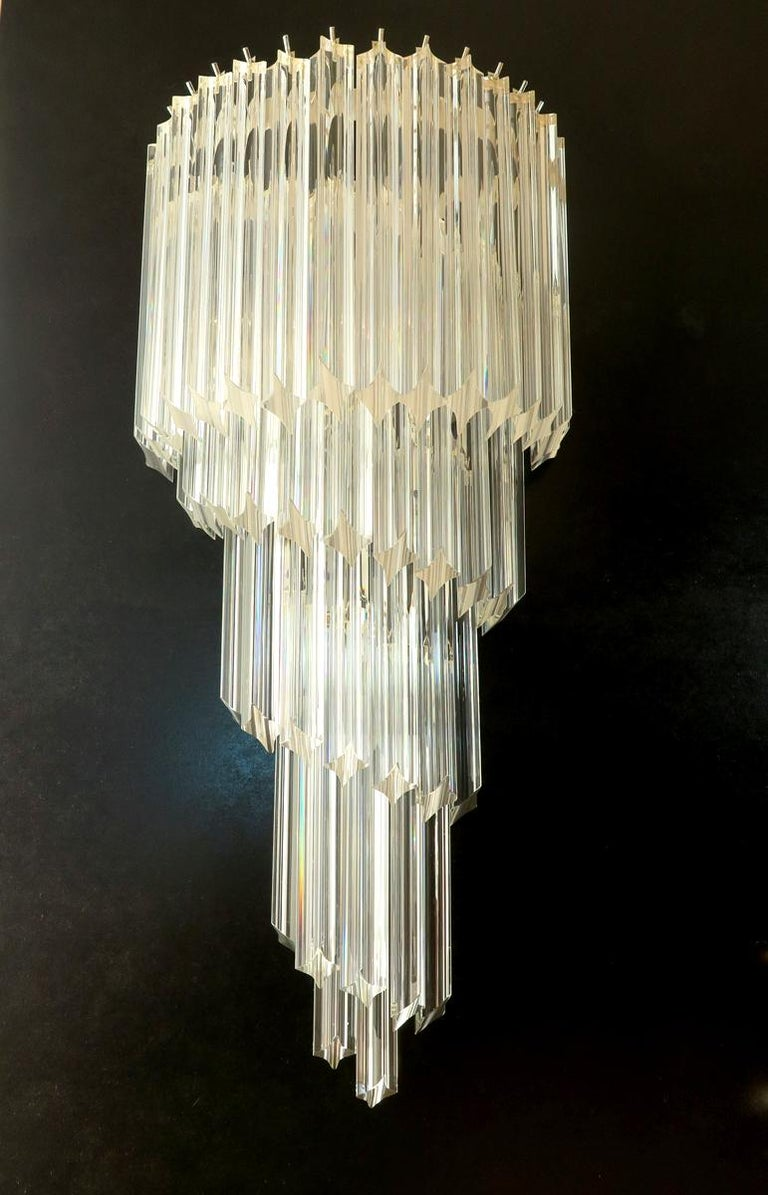 Monumental Pair of Vintage Murano Wall Sconce, 41 Transparent Quadriedri, Elena For Sale 1