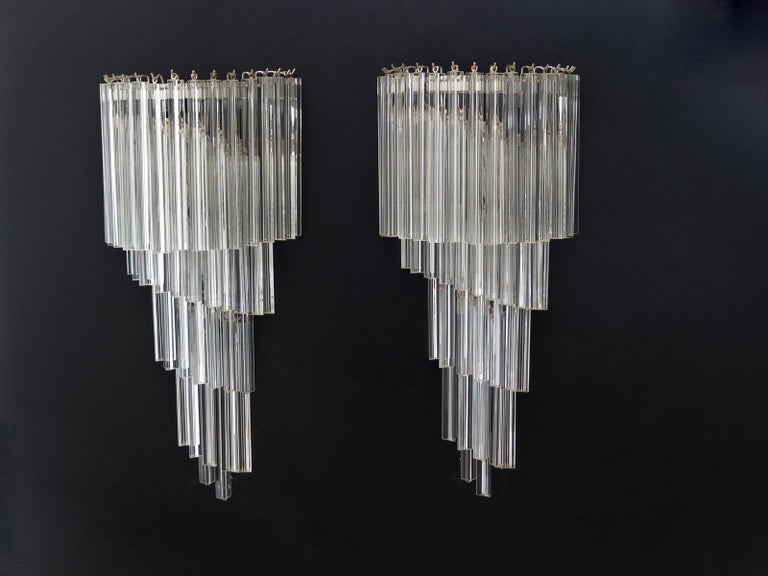 Monumental Pair of Vintage Murano Wall Sconce, 41 Transparent Triedri -Arianna For Sale 3