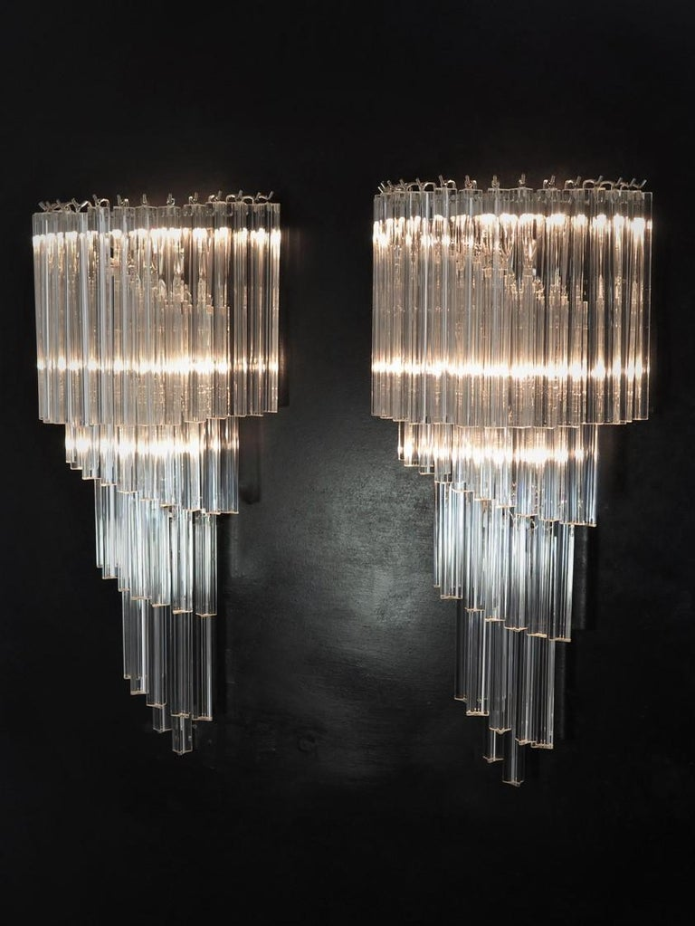 Monumental Pair of Vintage Murano Wall Sconce, 41 Transparent Triedri -Arianna For Sale 4