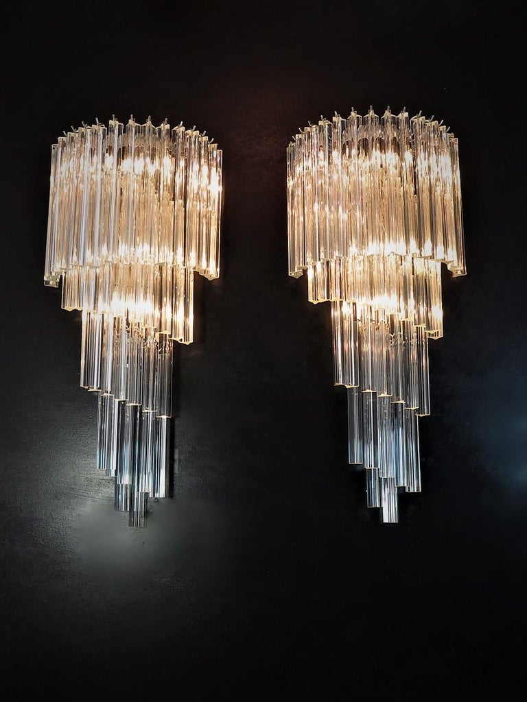 Monumental Pair of Vintage Murano Wall Sconce, 41 Transparent Triedri -Arianna For Sale 5
