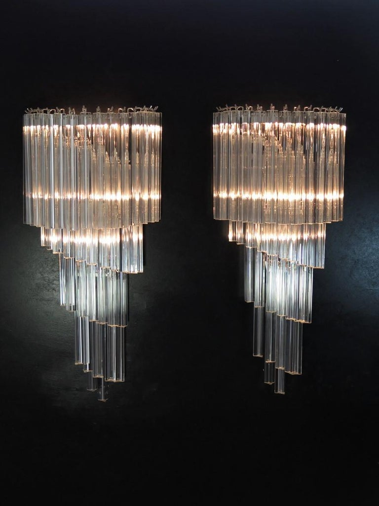 Mid-Century Modern Monumental Pair of Vintage Murano Wall Sconce, 41 Transparent Triedri -Arianna For Sale