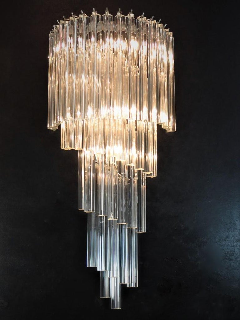 Italian Monumental Pair of Vintage Murano Wall Sconce, 41 Transparent Triedri -Arianna For Sale