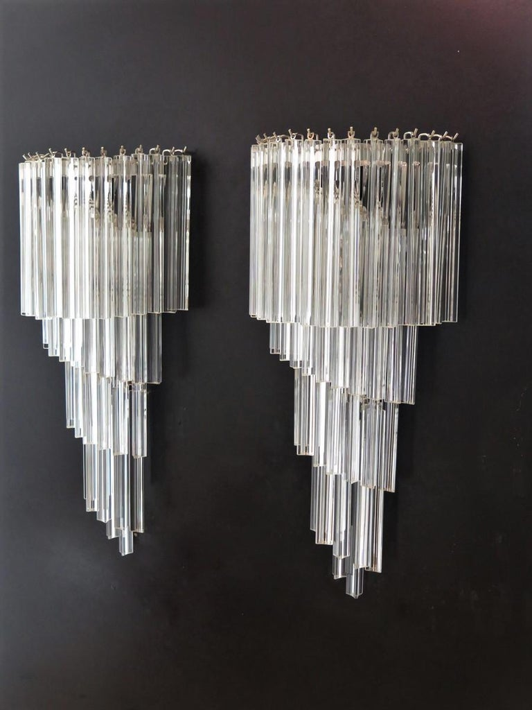Monumental Pair of Vintage Murano Wall Sconce, 41 Transparent Triedri -Arianna In Excellent Condition For Sale In Gaiarine Frazione Francenigo (TV), IT