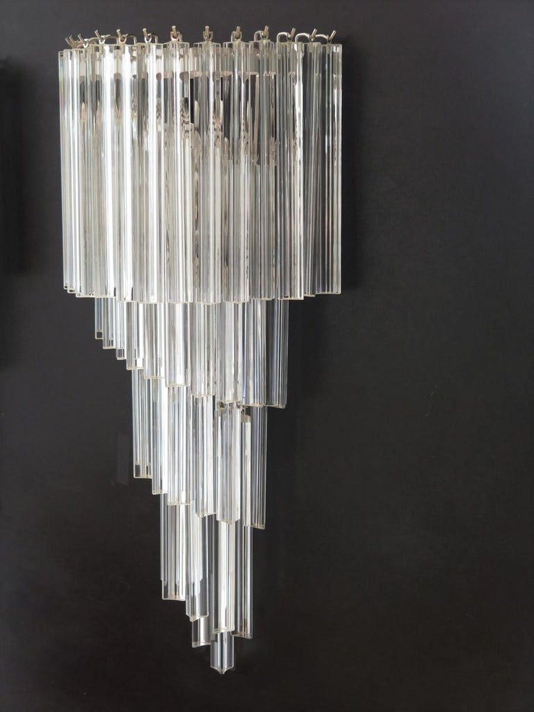 Late 20th Century Monumental Pair of Vintage Murano Wall Sconce, 41 Transparent Triedri -Arianna For Sale