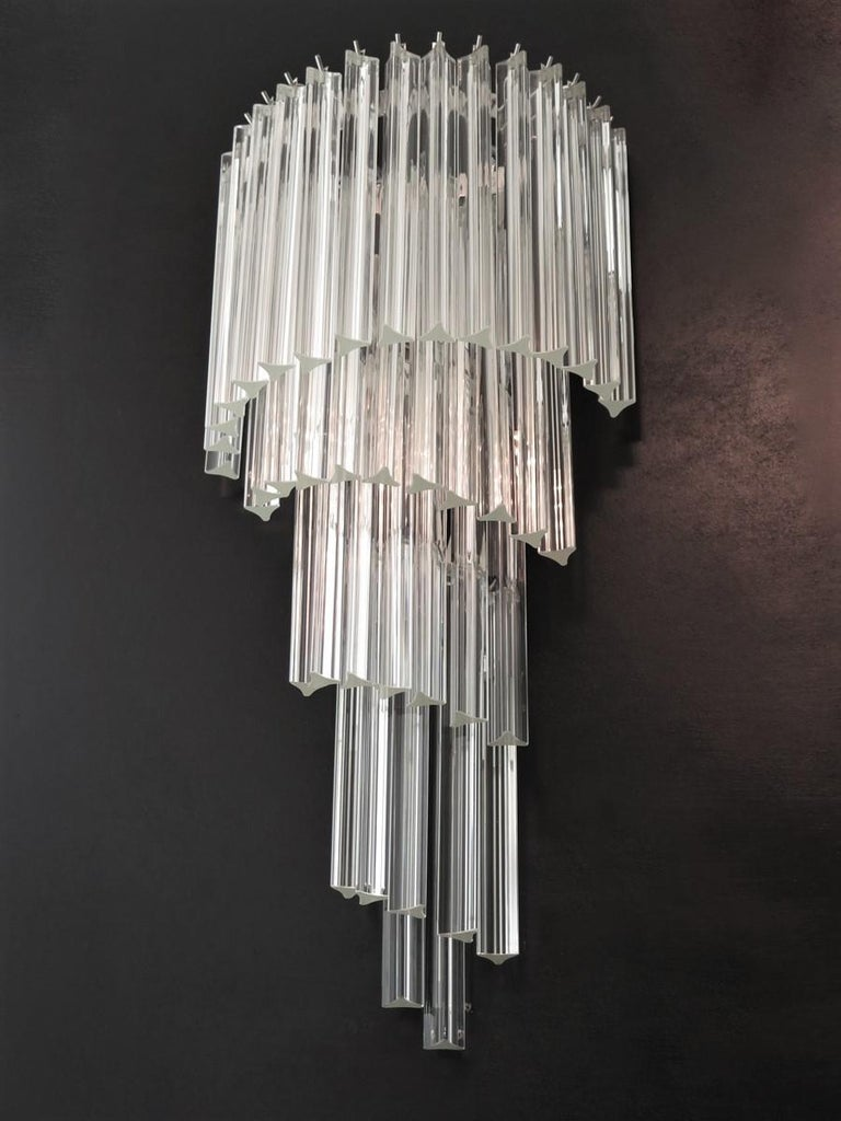 Blown Glass Monumental Pair of Vintage Murano Wall Sconce, 41 Transparent Triedri -Arianna For Sale