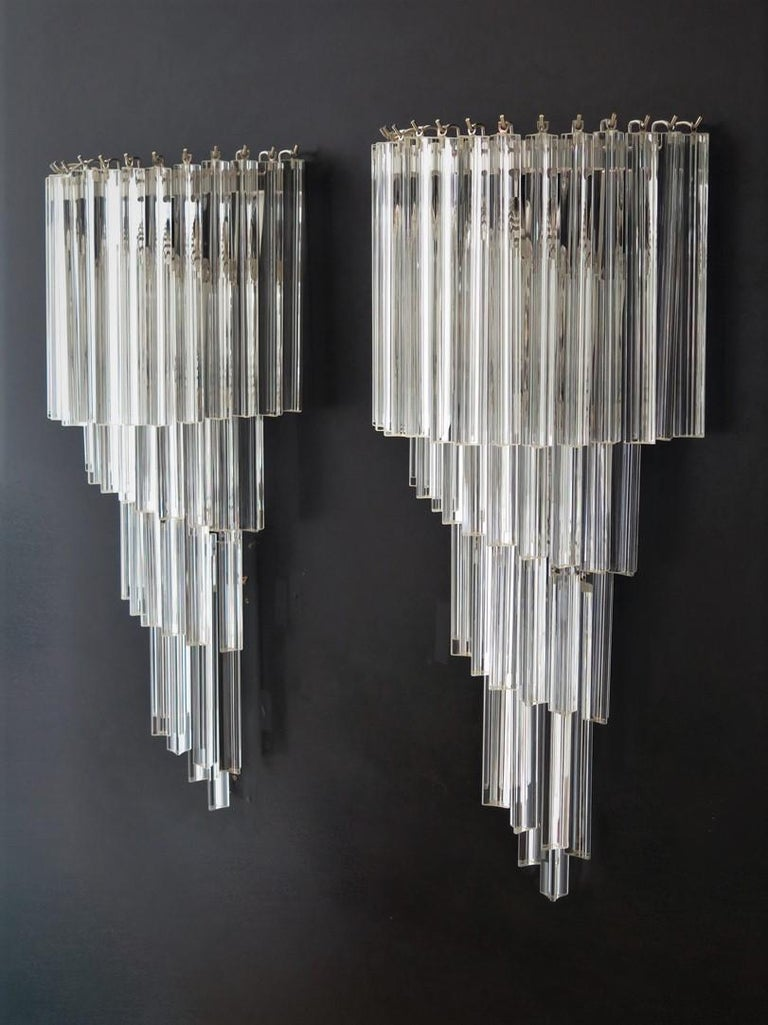 Monumental Pair of Vintage Murano Wall Sconce, 41 Transparent Triedri -Arianna For Sale 1