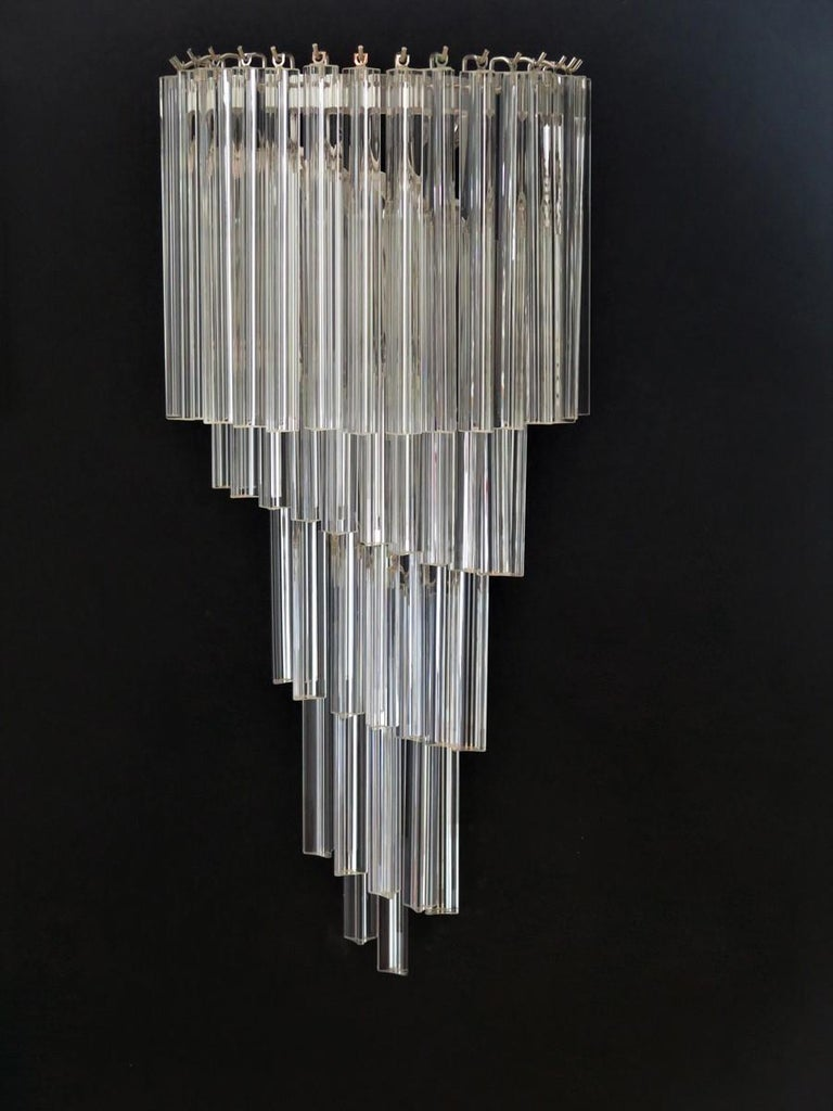 Monumental Pair of Vintage Murano Wall Sconce, 41 Transparent Triedri -Arianna For Sale 2