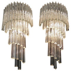 Monumental Pair of Vintage Murano Wall Sconce, 41 Transparent Triedri -Arianna