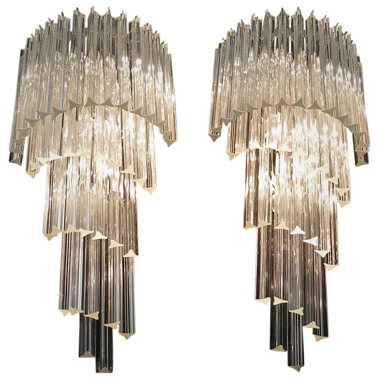 Monumental Pair of Vintage Murano Wall Sconce, 41 Transparent Triedri -Arianna For Sale