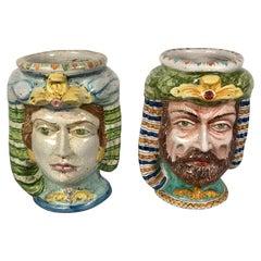 Monumental Pair of Sicilian Majolica, Faience Figural Busts Planter / Jardinière