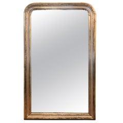 Monumental Palatial Silver Leaf 19th Century Louis Philippe Antique Mirror
