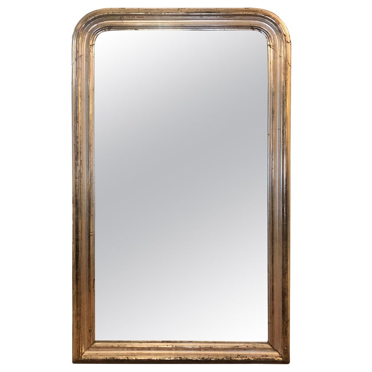 Monumental Palatial Silver Leaf 19th Century Louis Philippe Antique Mirror For Sale