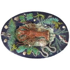 Monumental Palissy Majolica Lobster Wall Platter