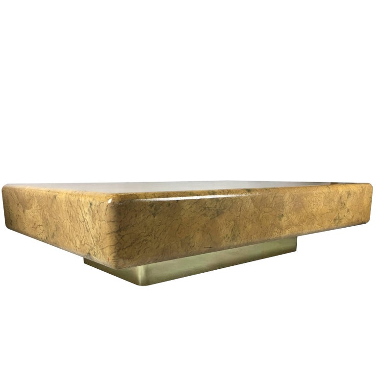 Monumental Parchment Clad Cocktail Table with Brass Base For Sale
