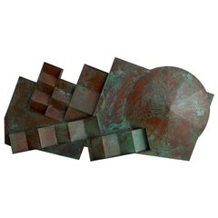 Monumental Patinated Bronze Wall Sculpture by Eugene Sturman
