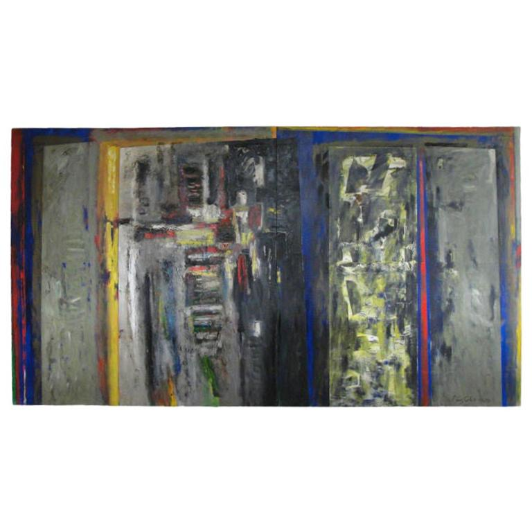 Monumental Perez Celis Two-Panel Oil on Canvas 'Signed' For Sale