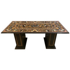 Monumental Pietra Dura Inlaid Center or Dining Table Top with Matching Base